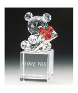 Crystal World  I Love You Teddy Bouquet Figurine New In Box - $56.42