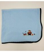 Rene Rofe Baby Blanket Boy Blue Textured Car Bear Ball Wagon Bee Securit... - $39.99