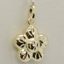 18K YELLOW GOLD ROUNDED FLOWER DAISY PENDANT CHARM 22 MM SMOOTH MADE IN ... - $99.00
