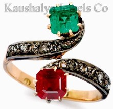 Victorian 0.45ct Rose Cut Diamond Ruby Emerald Very Precious Cute Weddin... - $226.27