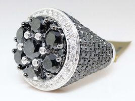 Men's Band Pinky Ring 14k White Gold Plated 925 Silver Round Cut Black Diamond - $183.45