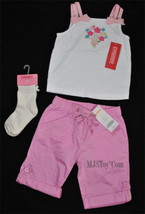NWT Gymboree Beautiful Button Flower Double Strap Shirt/Pants/Sock Outfi... - $39.99