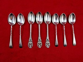 Group of 8 Vintage English Sterling Demitasse Spoons w/ Thistle or Twist (#4717) - $79.99
