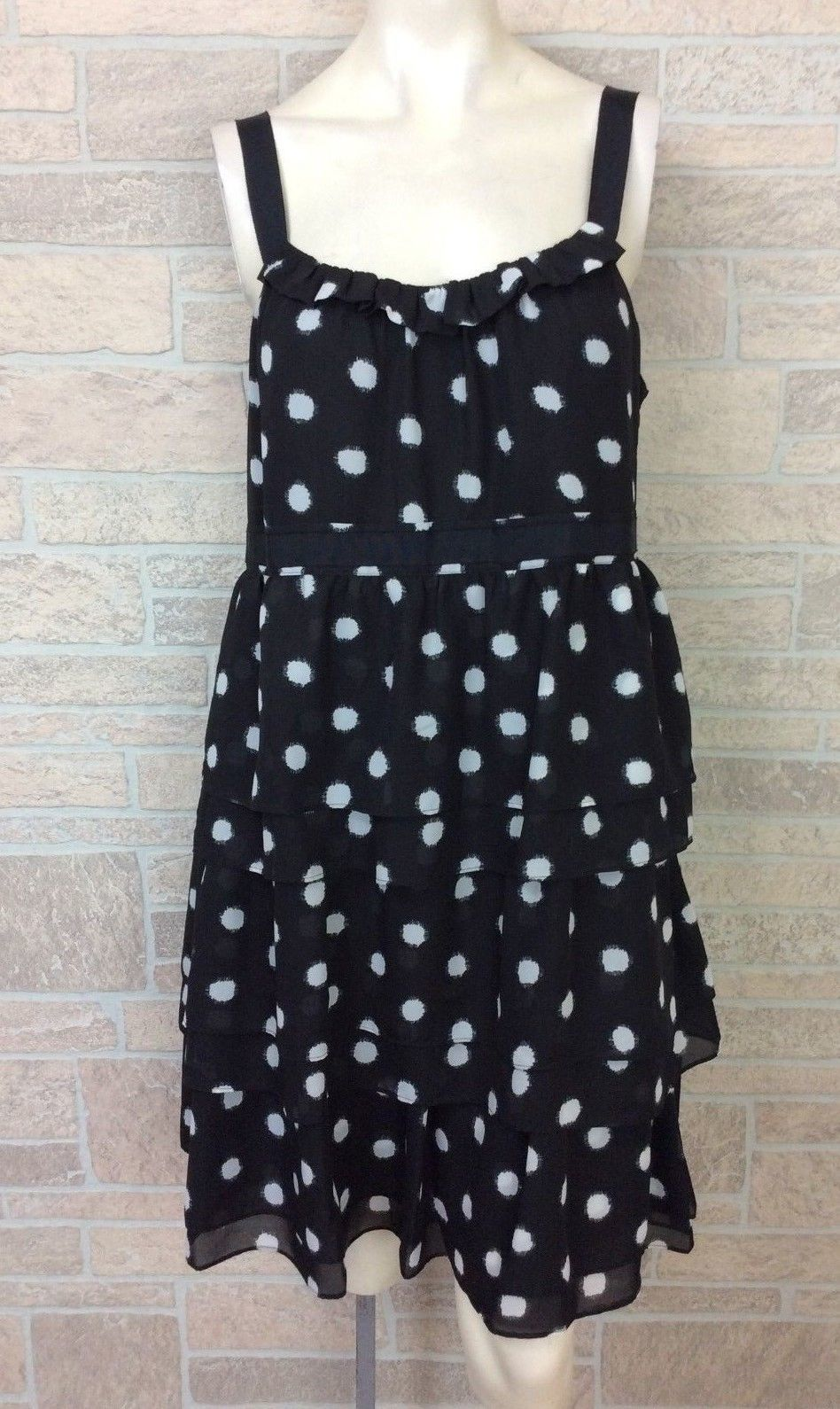 Ann Taylor LOFT Black Polka Dot Petite Crosshatch Cot Print Tiered Dress Size 14