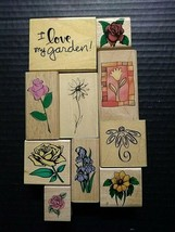 Rubber Stamps Floral Flowers I Love My Garden Roses Single Stems Lot 10 - $25.80
