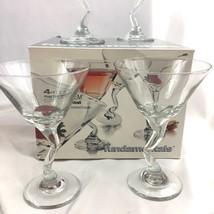 Libbey Z Stem Martini Glass Set 4 Glasses Clear Cocktail Fundamentals Zig Zag - $39.55