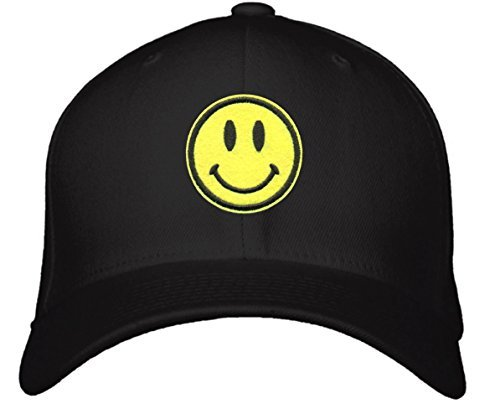 Smiley Face Hat - Adjustable Black/Yellow Cap