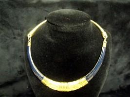 Vintage 80'S Gay Boyer Navy Blue Enamel Goldtone Choker ~ Minty ! - $21.78
