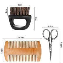 Beard Brush&Comb Kit for Men Beard Grooming 3 in 1 100% Boar Bristle Curve Beard image 6