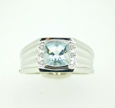 10k White Gold Men's Genuine Natural Aquamarine and Diamond Ring (#J4489) - $495.00