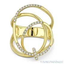 0.25 ct Round Cut Diamond 14k Yellow Gold Right-Hand Overlap Swirl Fashi... - €875,02 EUR