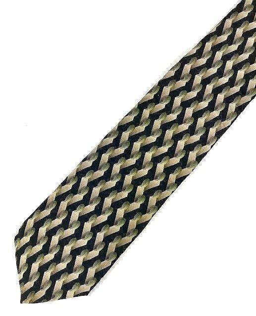 New KENNETH COLE New York TIE Black, Olive Silk Men's Neck Tie