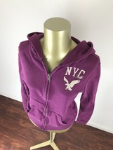 AMERICAN EAGLE NYC Graphic Zip Up Purple Hooded Sweatshirt Hoodie Womens... - $23.17