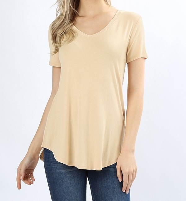Sand Relaxed Top, V Neck Relaxed Top, Premium Rayon Top, Womens
