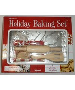 Lil Gourmet Holiday Baking Set 6 pc Child cookie sheet rolling pin cutte... - $17.77