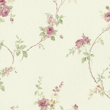 In-Register White Wedding Trail Wallpaper Cream, Pink, Green Norwall Wal... - $40.99