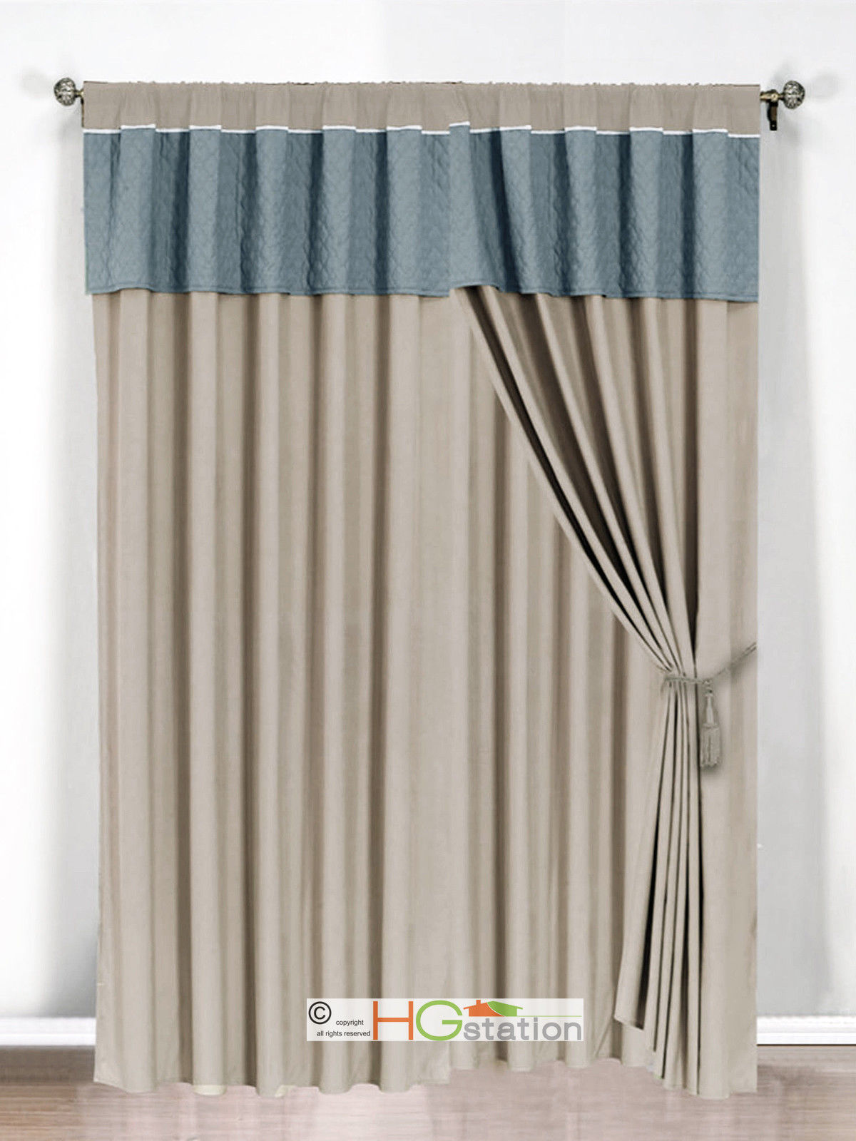 Primary image for 4-Pc Clover Trellis Floral Curtain Set Slate-Blue Gray Valance Drape Sheer Liner