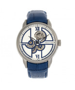 Heritor Automatic Sanford Semi-Skeleton Leather-Band Watch - Silver/Blue - $750.00