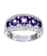 Judith Ripka 1.90ct Amethyst+Diamonique Tapered Sterling Silver Ring Siz... - $147.99