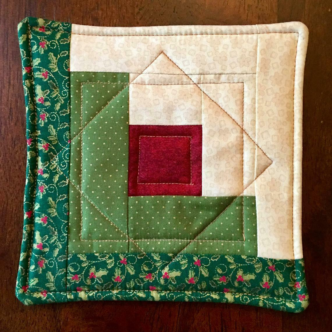 Christmas Pot Holder Quilted Handmade Holiday Log Cabin Block Heat Resistant image 2