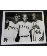 Roberto Clemente - Willie Mays - Hank Aaron 8 x 10 B&W Photo Early 70s  - $18.95