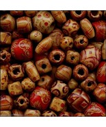 Lot 500 Bamboo Patterned Craft Beads Mixed Shapes/Sizes (Lightweight Str... - $15.98