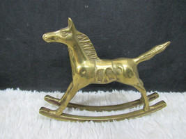 Russ Berrie & Company Brass Toy Rocking Horse Figurine, Collectible Home Decor - $8.99