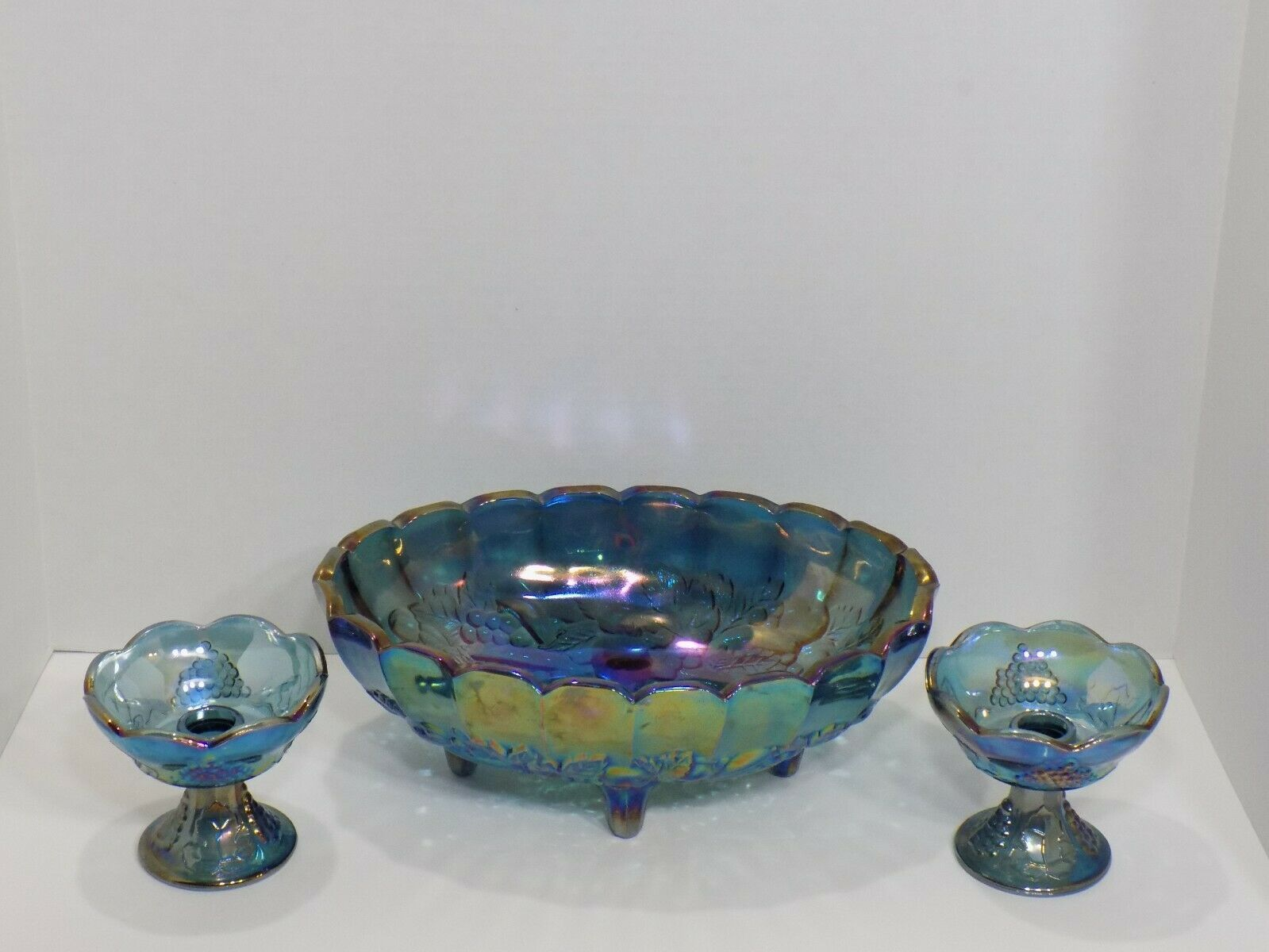 Vintage Indiana 3 pc Blue Carnival Glass Oval Footed Bowl & Candlesticks
