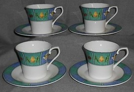 Set (4) Mikasa FRUIT MURAL PATTERN Cups and Saucers ULTIMA+  - $19.79