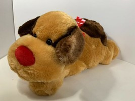 Best Made Toys plush Valentine's Day puppy dog brown tan red nose hearts ribbon - $17.81