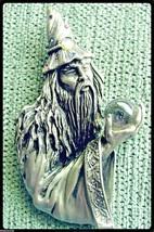 Vintage fantasy JJ Jonette Jewelry pin THE WIZARD MERLIN w crystal ball in EC - $35.00