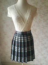 Girl BLACK and WHITE Plaid Skirt School Pleated Plaid Skirts Plus Size wt32 image 6