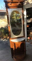 Vintage Pulaski Victorian Style Wood Hall Tree Marble Top Mirror Coat Ra... - $247.50