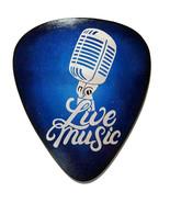 Live Music Mic and Blue Guitar pick wall sculpture, guitar pick wall art... - $74.25