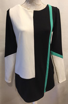 WORTHINGTON Women Career Tunic Color Block Blouse Top Stretch Zip Back S... - $22.49