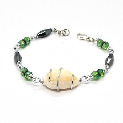 BRACELET THE ALUMINIUM LONG 19 CM WITH SHELL HEMATITE AND CRYSTALS STRASS