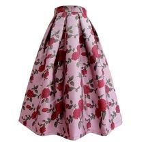 Pink Rose Flower Midi Skirt Plus Size Elegant A-line Pleated Midi Party Skirt image 2