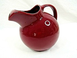 Hall Ball Tilt Pitcher with Ice Lip Burgundy Mid Century Made in USA Vin... - $39.59