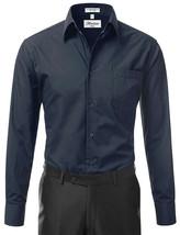 Berlioni Italy Men's Classic Standard Convertible Cuff Navy Dress Shirt - XL image 2