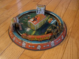 Vintage MARX POPEYE EXPRESS TRAIN BLOW ME DOWN AIRPORT TIN WIND UP TOY - $229.99