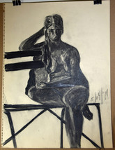 """24"""" Vintage '70 Pencil Charcoal Seated Woman Body Nude Sketch Lynn Marti... - $37.99"""