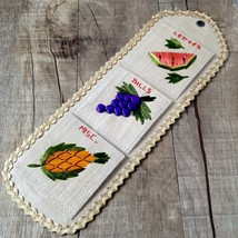 Vtg Philippines Woven Embroidered Straw Fruit Kitchen Organizer Letters ... - $24.70