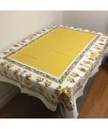 "Vintage 60s Yellow PA Amish Dutch Folk Art 63"" X 51"" Tablecloth Pilgrims... - $19.79"