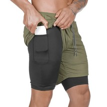 """Laamei Men""""s 2 in 1 Running Shorts Security Pockets Leisure Shorts Quick Drying  - $16.10"""