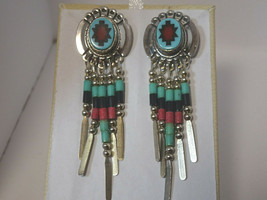 Vintage Native American  Sterling Silver Turquoise Dangle Earrings signe... - €35,71 EUR