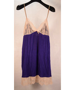 Eberjey Chemise Purple Beige Lace Slip S/P   - $54.45