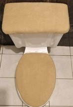 SOLID  CAMEL FLEECE Fabric - Elongated Toilet Seat Cover Set - $14.97