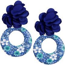 Blue Floral Fabric Drop Hoop Earrings - $13.64
