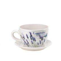 """*16209B  Lavender Fields Teacup Dolomite 9"""" Planter Drain Hole - $23.55"""