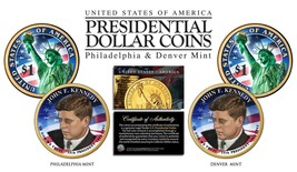 Colorized 2-sided JOHN F KENNEDY 2015 Presidential $1 Dollar 2-Coin Set ... - $12.82